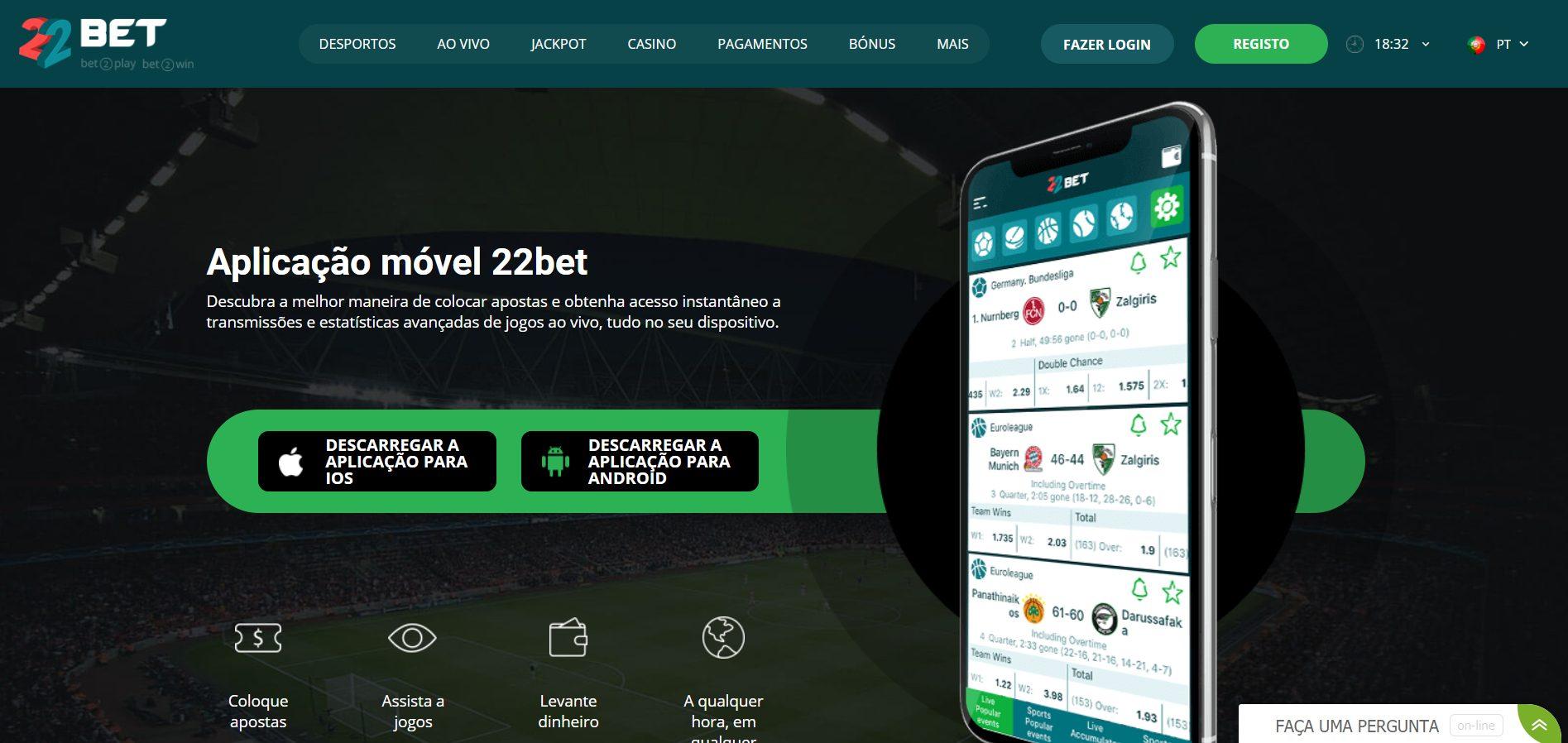 22BET app por gadget